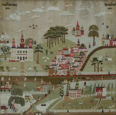 A beautiful needlework townscape by Catherine Kriebel, Montgomery Co, PA. (A Schwenkfelder!).