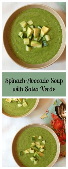 Spinach Avocado Soup with Salsa Verde. Vegan and Gluten-Free! Find the recipe at turniptheoven.com