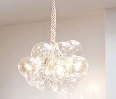 I did this glass ball chandelier project a year ago...took me about 2 hours total. Lot's of fun and the end result is beautiful. Have fun!