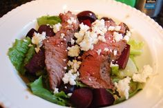 Simple Steak + Beet Salad with bleu cheese and a balsamic vinaigrette