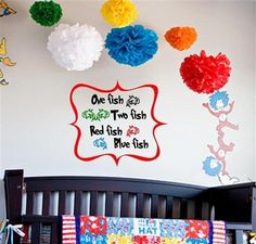 One Fish Two Fish Dr Suess Wall Decal Sticker Mural Nursery Label | eBay