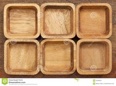 Six Square Wooden Bowls Royalty Free Stock Photos - Image: 25306878