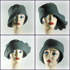 Cloche Hat in Gray Ladies Vintage Inspired by TheWaughdrobe