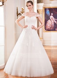 Ball-Gown Sweetheart Floor-Length Tulle Wedding Dress With Lace Beading Sequins (002051614) - JJsHouse