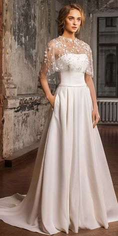 Elegant Satin Strapless Neckline A-line Wedding Dress With Detachable Shawl & Pockets #weddingdresses