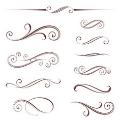 An image of vectorized scroll design, elements can be ungrouped for easy editing by Some(Romanova Ekaterina) on SpiderPic, a price comparison search engine for royalty free stock photos. Swirl Design, Border Design, Web Design, Filigrana Tattoo, Mago Tattoo, Schrift Design, Pinstriping Designs, Work Images, Scroll Pattern