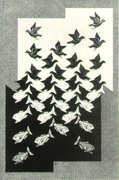 Sky and Water II - MC Escher, 1938