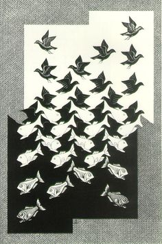 Sky and Water II - MC Escher, 1938 >> this reminds me of Isham's old room...