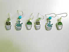 Cactus earrings blue illustrated mini shrink by savannahstorm