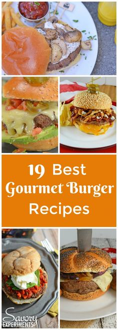 These are the best gourmet burger recipes! If you've ever wondered how to make gourmet burgers at home you are going to be surprised at how easy they are! via Savory Experiments Gourmet Cooking, Gourmet Recipes, Cooking Recipes, Healthy Recipes, Gourmet Meals, Drink Recipes, Delicious Recipes, Gormet Burgers, Gourmet Hamburgers