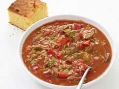 Jambalaya Soup recipe from Food Network Kitchen -try chopping veggies smaller and using a cornstarch slurry to thicken slightly Jambalaya Soup, Chicken Jambalaya, Jambalaya Recipe, Gumbo, Soup Recipes, Great Recipes, Dinner Recipes, Cooking Recipes, Favorite Recipes