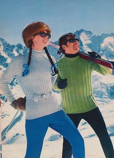 Vintage Ski sweaters from 1971 Spinnerin yarn knitting pattern book