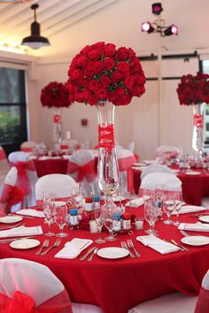 Red Floral Centerpieces - Bitsy Bride