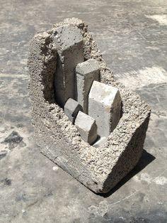 civilisation - post WWIII  Cinderblock and cast concrete sculpture  Sharon Pazner
