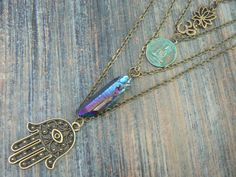 spiritual zen necklace boho chic necklace 4 in 1 layered necklace gypsy soul festival bohemian necklace buddah ohm necklace in yoga style