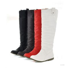 Women Faux Leather Flat Low Heels Knee High Boots Working Casual Winter Shoes