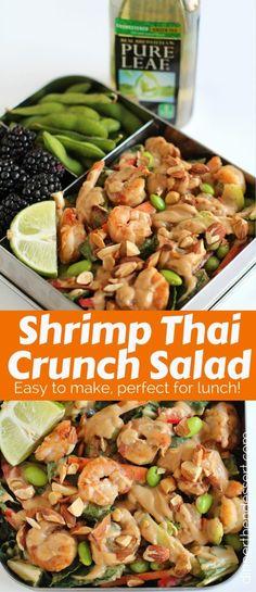 Shrimp Thai Crunch Salad made with a delicious and EASY peanut sesame dressing. PureLeafLunchBox RealBrewedTea #AD @pureleaf