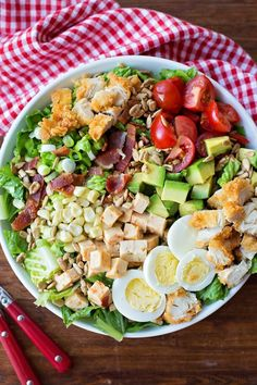 This BLT Cobb salad is loaded with fresh and flavorful ingredients. It can be easily customized based on what you have in your fridge or pantry.