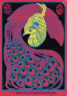 The Peacock Ball Quicksilver Messenger Service/Miller Blues Band/Daily Flash, March 10 & 1967 - Avalon Ballroom (San Francisco, CA) Art by Victor Moscoso This is a stunning and beautiful poster! Kunst Poster, Poster Art, Psychedelic Rock, Psychedelic Posters, Art And Illustration, Rock Posters, Band Posters, Movie Posters, Vintage Concert Posters