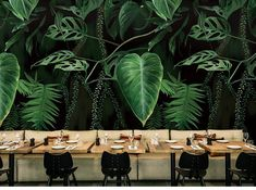 Oil Painting Emerald Green Tropical Plants with Leaves Wallpaper Wall Mural, Oil Painting Tropical Plants Wall Mural Home Decor Tropical Home Decor, Tropical Houses, Tropical Plants, Tropical Interior, Tropical Furniture, Mural Floral, Floral Wall, Wallpaper Wall, Backdrops