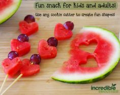 Here's a quick and creative little afternoon snack! I used watermelon and red grapes, but you can add any fruit you'd like. Grab the kids and get out the small cookie cutters, it's a fun craft for everyone!