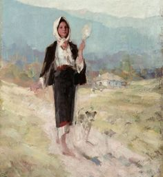 Title: Ţăranca cu furca Artist: Nicolae Grigorescu - Medium: Oil on canvas Ouvrages D'art, La Reproduction, Human Pictures, Virtual Art, Wall Art For Sale, Vintage Artwork, Art Academy, Art Google, New Art