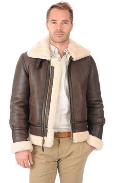 Bombardier LC1259 Marron Schott Aviator Jackets, Bomber Jackets, Peau Lainee, Sheepskin Jacket, Rugged Men, Men's Leather Jacket, Hooded Jacket, Jacket Men, Military Jacket