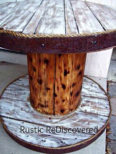Combine an old cable spool & barrel to create this sweetly simple rustic table.