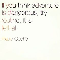 charming life pattern: paulo coelho - quote - if you think adverture is d...