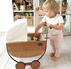 Wooden vintage play pram