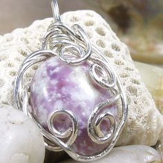 Purple and white lepidolite sterling silver pendant | bohowirewrapped - Jewelry on ArtFire