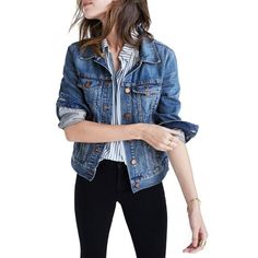 Women's Madewell Jean Jacket (150 CAD) via Polyvore featuring outerwear, jackets, pinter wash, distressed jacket, madewell, blue jackets, madewell jacket and distressed jean jacket
