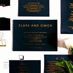 Black wedding invitations - Metallic foil printed wedding invitations with gold print on black card