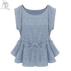 2017 Spring New Women Fashion Light Blue Short Sleeve Stripes Peplum Ruffle Hem Loose Casual Blouse Top
