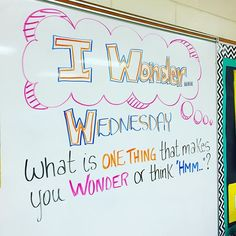 "I wonder Wednesday! Comment below, what makes you think ""hmm. Have a great mid-week everyone! Morning Board, Morning Activities, Daily Writing Prompts, Bell Work, Responsive Classroom, Journal Topics, Classroom Community, Future Classroom, Classroom Ideas"