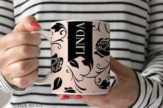 Cute Mugs Mugs Personalized Pink Mug Floral Mugs Floral Teacups Pink Gift Custom Name Mug Pretty Mug Mugs for Her Rose Mug Rose Gift P99