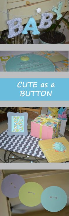 """A gender neutral, Cute as a Button themed baby shower. Incorporates mint, aqua and grey. Framed """"B"""" can go home to be placed in the nursery."""