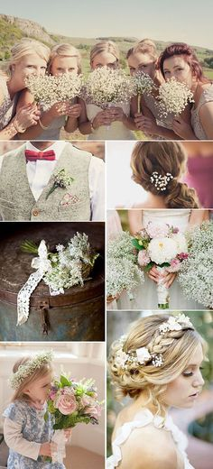 Baby's Breath Wedding Ideas.  Pinned by Afloral.com from http://delightfulfindsandme.com/wedding-wednesday-gypsophilia/ ~Afloral.com has high-quality faux and preserved baby's breath for your DIY wedding.