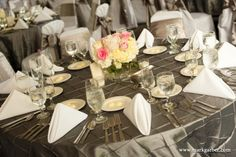 Silver Pintuck with White Napkins and pale pink accents #Silver #Pintuck #Linens #Tablescape #GotYaCoveredLinens #Weddings