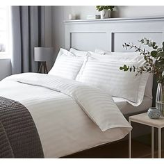 Including a 100% cotton duvet set and a range of accessories, this sateen stripe bedroom collection will add some elegant style to your bedroom.