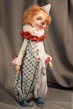 Купить Клоун Любимчик Пашка - голубой, красный, клоун, клоуны, улыбка, радость, авторская кукла