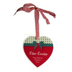 Personalised Ribbon Bow Christmas Heart Wooden Decoration  from Personalised Gifts Shop - ONLY £9.95