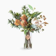 Leucospermum, protea and kangaroo paw Large Artificial Flowers, Artificial Flower Arrangements, Floral Arrangements, Water Flowers, Green Flowers, Beautiful Flowers, Flower Vases, Flower Art, Vertical Garden Plants