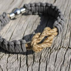 Captain's bracelet, tarred hemp and suede, by Maris Sal Company.