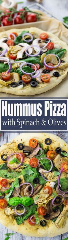I absolutely LOVE this vegan hummus pizza with spinach, olives, and artichokes! Instead of tomato sauce, I used hummus as a base for this vegetarian pizza! Find more vegan recipes at veganheaven.org