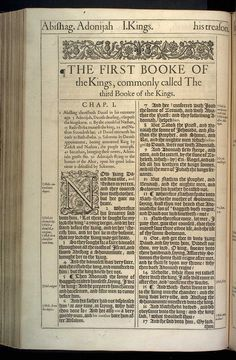 1 Kings Chapter 1 Original 1611 Bible Scan, courtesy of Rare Book and Manuscript Library, University of Pennsylvania