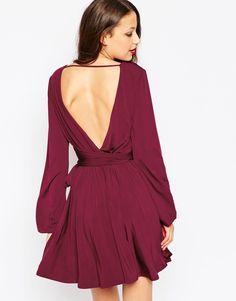 ASOS Tall Slinky Blouson Sleeve Wrap Mini Dress