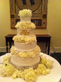 Delicious buttercream cake , layered with white hydrangea