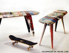 En vez de botar las viejas tablas de skate de los patos chicos, mejor las transformamos en muebles o repisas. Es buena madera!