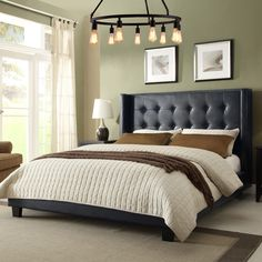 The Park Ave bed by Diamond sofa is a hand crafted, hand tufted, upholstered bed standing 69 inches tall. With its tufted headboard, vintage wing accents a Wingback Bed, Tufted Bed, Upholstered Beds, Sofa Bed, Tufted Headboards, Tall Headboard, King Headboard, Cushion Headboard, Camas King Size